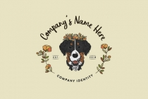 Hand Illustration Dog Flower Logo