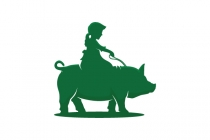 Girl Riding Pig Logo