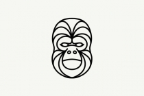 Gorilla Face Line Art...