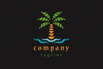 Palm Tree Beach Logo