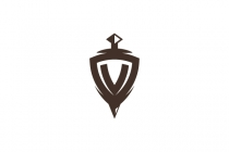 Letter V Sword Shield...