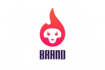 Cute Flame Skull Logo