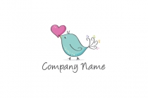 Heart Cute Bird Logo