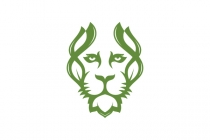 Green Lion Face Logo