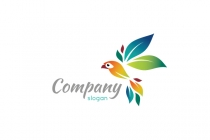Color Leaf Bird Logo