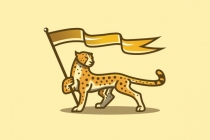 Cheetah Holding Flag...