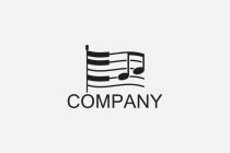 Piano Music Flag Logo