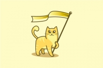 Cat Holding Flag Logo