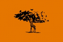 Giraffe Bird And Tree...