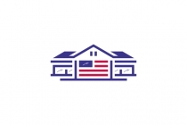 Usa Flag House Logo