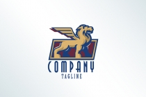 Lion Statue Wing Logo