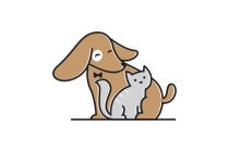 Cute Cat And Dog Logo