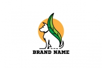 Leaf White Dog Logo